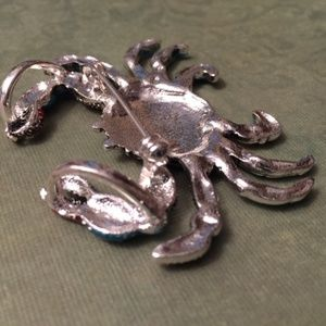 Vintage Country Couture Jewelry - Crab Necklace Pendent & Earrings- Beach Jewelry